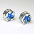 Thunder Tiger 1/10 5-spoke chrome/ blue  (PAIR)