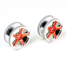 Thunder Tiger 1/10 5-spoke chrome/ red (PAIR)