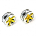 Thunder Tiger 1/10 5-spoke chrome/ YELLOW  (PAIR)